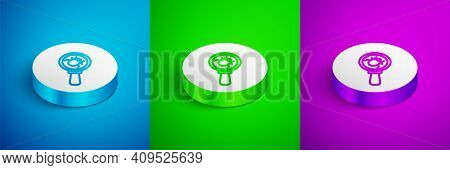 Isometric Line System Bug Concept Icon Isolated On Blue, Green And Purple Background. Code Bug Conce