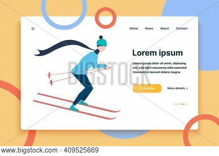 Young Woman Going Skiing Flat Icon. Winter Vacation, Ski Resort, Athlete. Winter Activity Concept. V