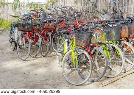 Gili Air Island In The Indian Ocean. 03.01.2017 The Vicinity Of The Ferry Pier. Bicycle Rental