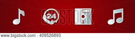 Set Music Note, Tone, Telephone 24 Hours Support, Floppy Disk In The 5.25-inch And Icon. Vector