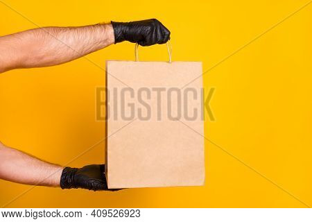 Cropped View Of Guys Hands Wearing Black Gloves Carrying Bringing Cafe Order Paper Package Health Ca