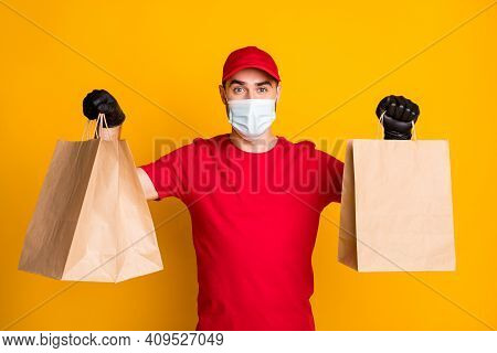Portrait Of Healthy Guy Wear Gauze Mask Carrying Bringing Cafe Order Takeaway Takeout Isolated On Vi