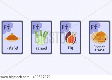 Colorful Phonics Flashcard Letter F - Fig, Falafel, Fennel, French Toast. Food Themed Abc Cards For