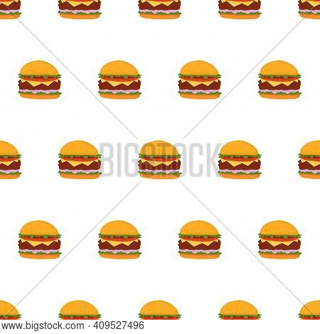 Seamless Pattern With Hamburger. Fast Food Background. American Food, Burger Backdrop.