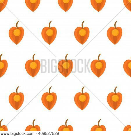 Seamless Pattern With Physalis. Orange Fruit Inca Berry. Organic Textile. Vector Nature Graphic Back