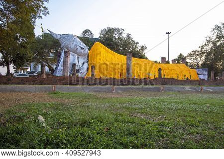 Wat Khun Inthapramun Has A Large Reclining Buddha And Is An Important Religious Tourist Destination