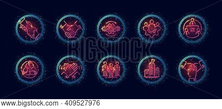 10 In 1 Vector Icons Set Related To Team Building And Co Working Theme. Lineart Vector Icons In Geom