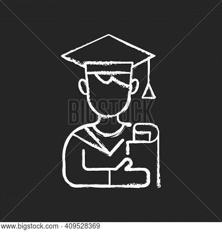 Male Student Chalk White Icon On Black Background. Early Adulthood. Establishing Identity. Pursuing