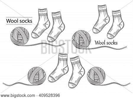 Warm Wool Socks With Yarn Ball Line Icons Set. Hand Knitted. Winter Textile Socks Pair. Handmade Kni