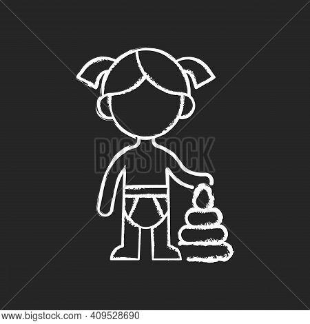 Female Toddler Chalk White Icon On Black Background. Toddlerhood. Preschool Years. Cognitive, Emotio
