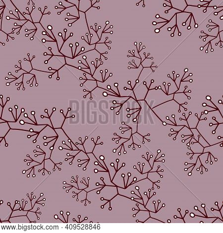Seamless Pattern With Garlands Of Small Leaves, Moss. The Texture Of The Vectors Is Pastel Purple An