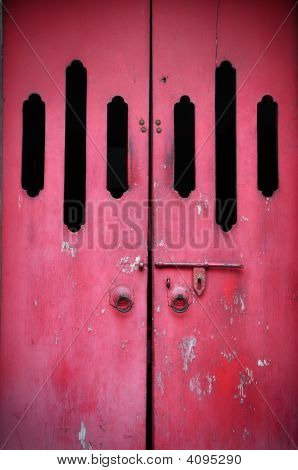 Red ancient door in a Chinese Temple poster
