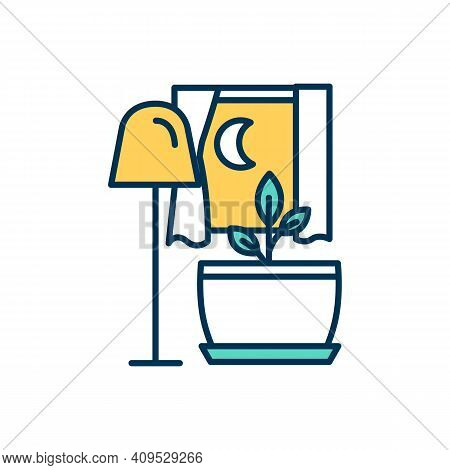 Artificial Lighting For Plants Rgb Color Icon. Houseplant Light Intake. Indoor Plant And Foliage Gro