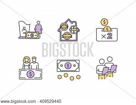 Risk Management Rgb Color Icons Set. Burial Insurance. Money Savings. Personal Finance, Investment.
