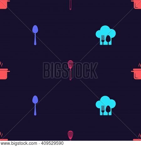 Set Chef Hat With Fork And Spoon, Spoon, Kitchen Whisk And Cooking Pot On Seamless Pattern. Vector