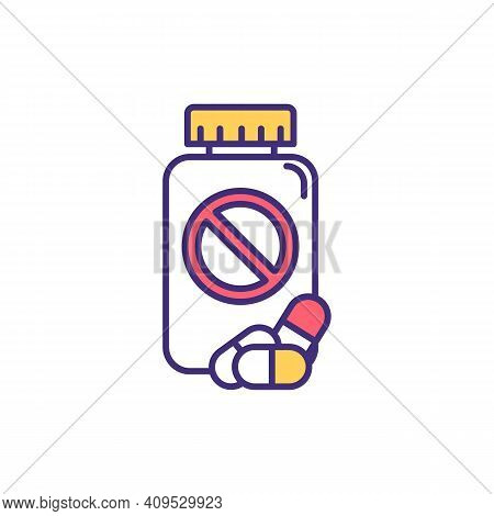 Antibiotic Resistance Rgb Color Icon. Using Antiviral Drugs Effect Reduction. Taking Medications Hea