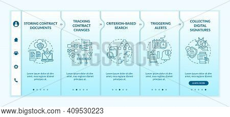 Contract Management Software Functions Onboarding Vector Template. Tracking Contract Changes. Respon