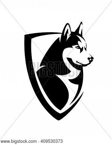 Siberian Husky Head And Heraldic Shield - Guard Dog Insignia Badge Black And White Vector Design