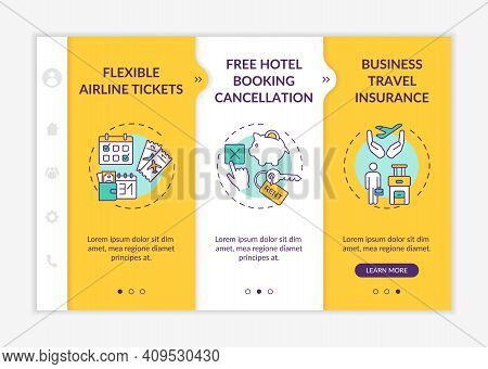 Covid Related Marketing Tips Onboarding Vector Template. Flexible Airline Tickets. Hotel Booking Can