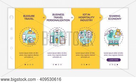 Business Travel Trends Onboarding Vector Template. Bleisure Travel. Business Travel Personalization.