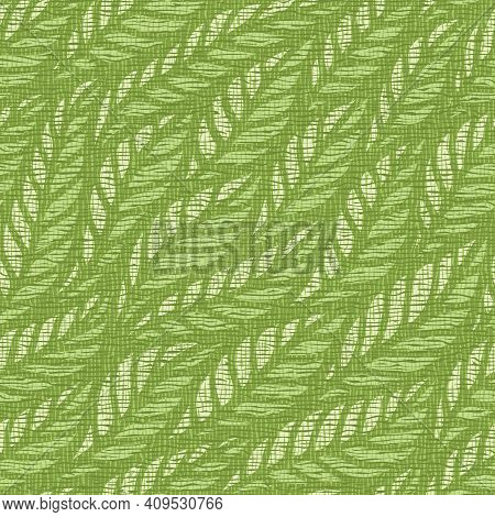 Seamless Background With A Floral Motif. Bright Green Leaves, Grass, Branches. The Texture Of Burlap