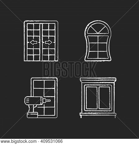 Replacement Door Opportunity Chalk White Icons Set On Black Background. Patio Doors. Unique Styles A