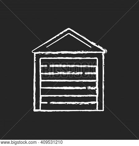 Garage Doors Chalk White Icon On Black Background. Storage Space. Parking Car In Garage. Safety And