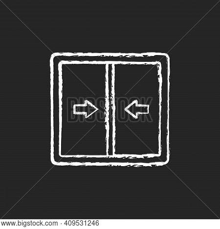 Sliding Windows Chalk White Icon On Black Background. Sliding Sashes Side-to-side. Double Hung Windo