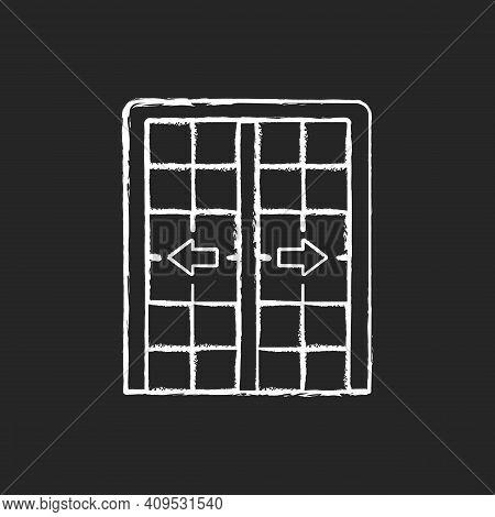 Patio Doors Chalk White Icon On Black Background. Sliding Glass Door. Architecture, Construction. La
