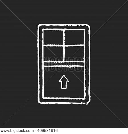 Single-hung Windows Chalk White Icon On Black Background. Single Movable Sash With Raise From Bottom