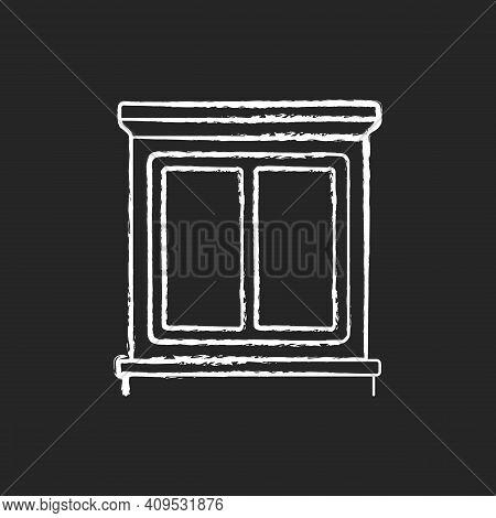Window Interior Trim Chalk White Icon On Black Background. Window Decoration. Home Improvement. Deco