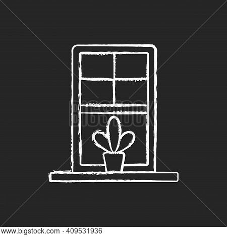 Windowsills Chalk White Icon On Black Background. Window Ledge. Horizontal Structure, Surface At Win