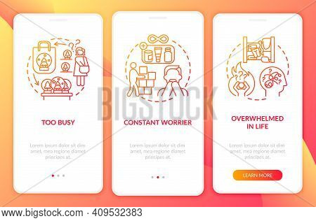 Clutter Personality Types Onboarding Mobile App Page Screen With Concepts. Constant Worrier Walkthro