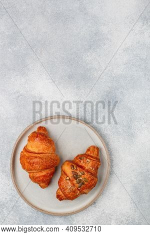 Freshly Baked Homemade Croissants For Breakfast. Traditional And Whole-grain Croissant With Pumpkin