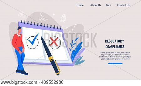 Website Banner Template On Regulatory Compliance, Company Rules Theme. Landing Page Layout For Docum