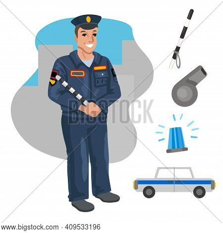 Policeman And Car. Professions, Character And Items For His Work. Children Education. Exercise For P