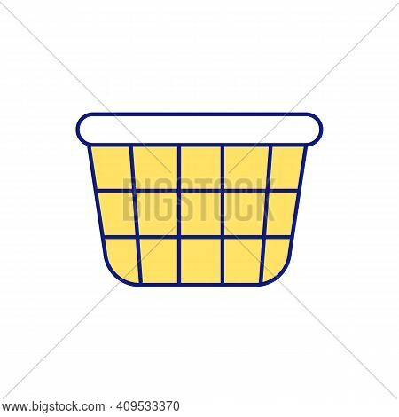Sorting Clothes For Repairing And Disposal Yellow Rgb Color Icon. Baskets And Containers For Things.