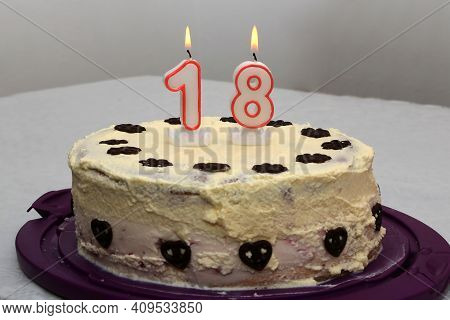 An Image Of A Birthday Cake With Candle - 18.