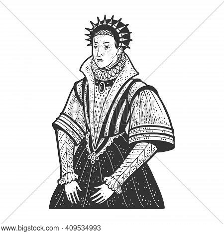 Medieval Queen In A Dress With A Huge Collar Sketch Engraving Vector Illustration. T-shirt Apparel P