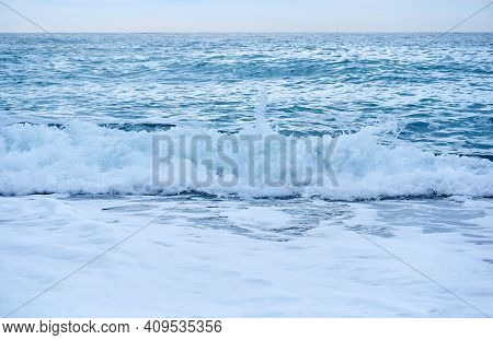 Background - Sea Surf In Cloudy Day, Breaking Wave