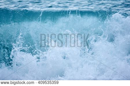Background - Sea Surf In Cloudy Day, Breaking Wave Close-up