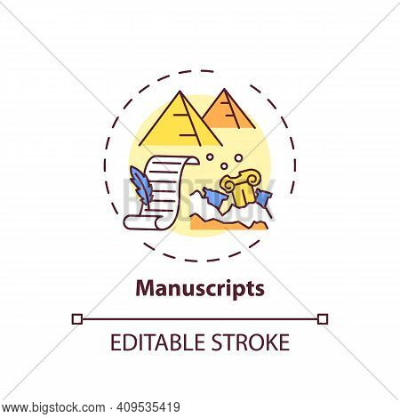 Manuscripts Concept Icon. Archive Collections Of Online Library Idea Thin Line Illustration. Catalog