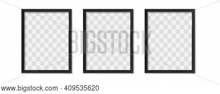 Black Photo Frames. Empty Modern Simple Image Borders With Shadow On Gallery Wall. Isolated Picture