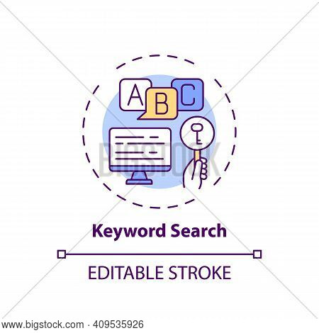 Keyword Search Concept Icon. Online Library Search Types Idea Thin Line Illustration. Easy Access To