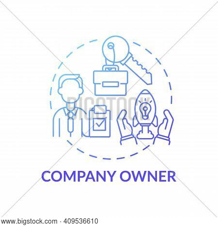 Company Owner Concept Icon. Company Top Management Jobs. Person Owning All Company Assets. Business