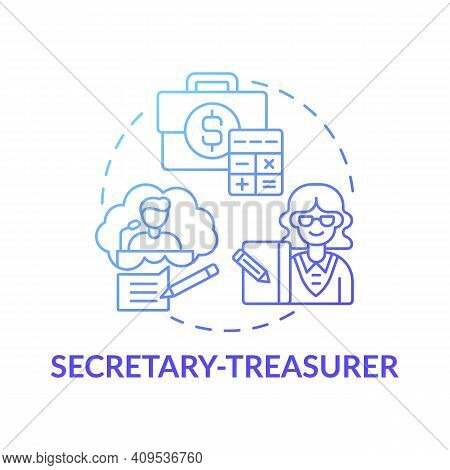 Secretary Treasurer Concept Icon. Company Top Management Jobs. Controlling All Company Budget Activi