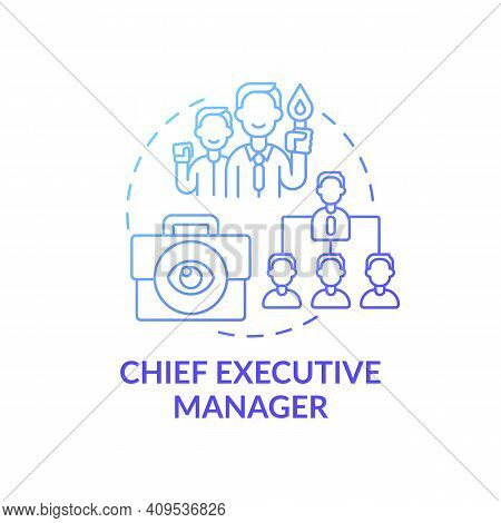 Chief Executive Manager Concept Icon. Top Management Positions. Corporate Executives Managing Compan