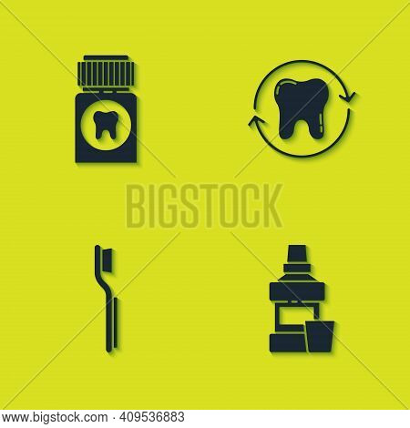 Set Painkiller Tablet, Mouthwash Bottle, Toothbrush And Whitening Icon. Vector