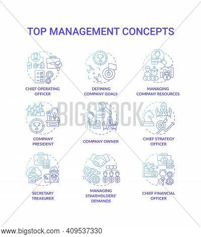 Top Management Concept Icons Set. Managing Stakeholders Demands. Chief Executive Managers Preparatio