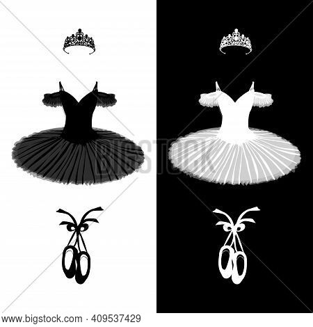 Vector Ballet Set Of Tutu, Pointe Shoes And Tiara In Black And White